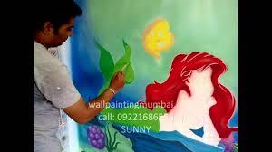 disney mermaid themed wall murals painting mumbai india youtube
