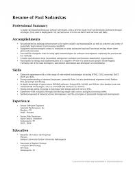 Resume Examples  Resume Template With Professional Summary And Skills In Web Technology Or Experience As