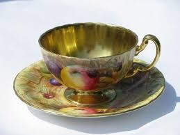 vintage aynsley gold orchard fruit pattern english bone china tea