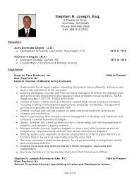 Law Resume Samples by Stephen H Joseph Resume Labor And Employment