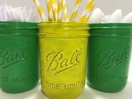 John Deere Kids Room Decor by Green And Yellow Painted Mason Jarsfarmer Party
