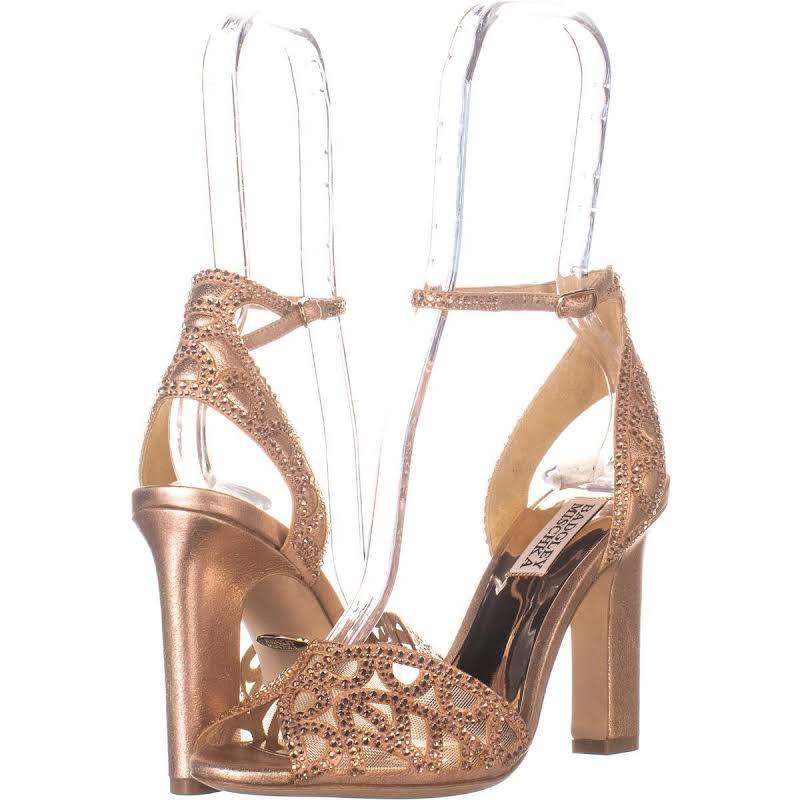 Badgley Mischka Hart Rose Gold Ankle Strap Heels