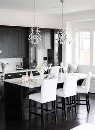 Dark And White Kitchen Cabinets Kitchen Photos Black Appliances Wood Cabinets Black Island Design