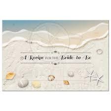 bridal wedding shower recipe card waters edge seashells and sand