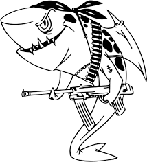 sharks carry weapons coloring pages for kids evk printable