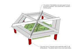 Free Wooden Picnic Table Plans by Ana White Hexagon Picnic Table Diy Projects