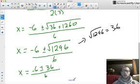 9 4 solving quadratics using the quadratic formula integer