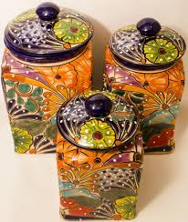 talavera pottery canister hand painted cookie jar set of 3 tcs002