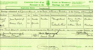 [S3350] Copy of the marriage certificate of James Myerscough and Florence Pask, 18 August 1908. Kindly provided by the Myerscough One-Name Study. - MC_1908_Myerscough-Pask