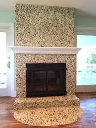 sea green pebble tile fireplace surround hearth https www