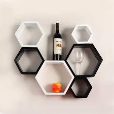 Wall Hanging Shelves Design Designer Hexagon Shelves By Decornation Black U0026 White
