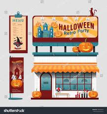 vector restaurant halloween cafe set shop stock vector 306967643