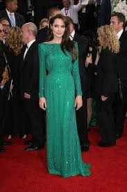 angelina jolie long green dres