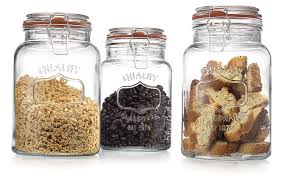 Glass Canisters For Kitchen Amazon Com Glass Canister Quality Set Of 3 Clear Round Jar With