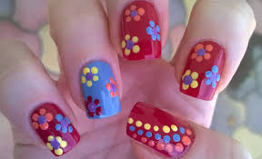 dotting tool flower nail art diy easy summer nails for beginners