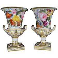 pair of derby botanical porcelain vases decoration attributed to