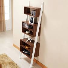 furniture charming wooden leaning bookcase in white and four tier