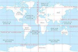 Latitude Map Continents Lines Of Latitude And Longitude Oceans And Ocean