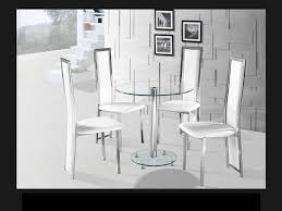 Round Clear Glass Chrome Dining Table And  White Chairs - Black dining table for 4