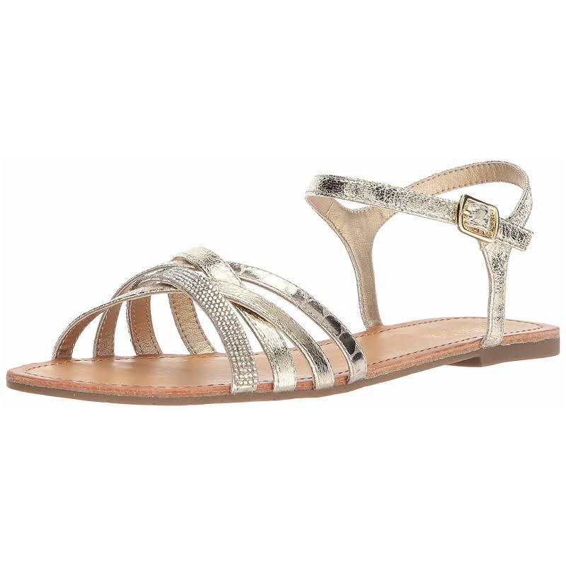 Kenneth Cole Just New Gold Ankle Strap Flats