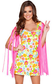 Flower Power Halloween Costume Pink Flower Power Hippie Gogo Dress Costume Upscalestripper