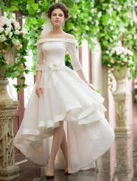 discount vintage style high low wedding dresses off shoulder half