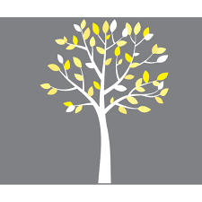 Bedroom Wall Decals Trees Small Yellow And Gray White Tree Wall Decals For Girls
