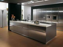 awesome wooden floor with modern stainless steel kitchen island