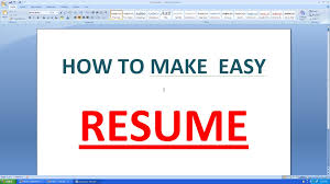 Best Resume Builder Free Online by How To Make An Simple Resume In Microsoft Word Youtube