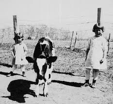 janet \u0026amp; mary. Janet Matlick and Mary Matlick on their Grandfather\u0026#39;s (Samuel Matlick) farm, 1923. - janet_mary_n_cow_s