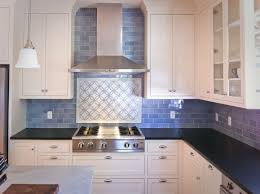 interior soft blue subway tile kitchen backsplash with white then