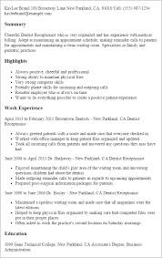 Sample Of Receptionist Resume by Professional Dentist Receptionist Templates To Showcase Your