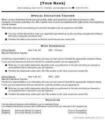 Special Education Teacher Resume Samples      Teaching Resume Sample Of  Resume For Teaching Job In Sample