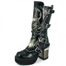 motorcycle biker boots skull print womens biker boots with chains by hades gothic boots