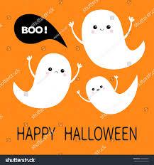 happy halloween flying ghost spirit set stock vector 700506682
