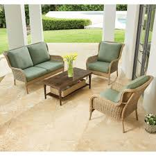 Outdoor Living Furniture by Hampton Bay Granbury 6 Piece Metal Outdoor Sectional With Fossil