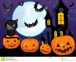 cartoon halloween scene with pumpkin bats castle and cat stock