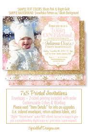 winter onederland invitation photo card blush pink gold