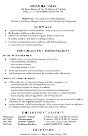 Liaison Resume Sample by Functional Resume Sample Assistant To Warehouse Manager