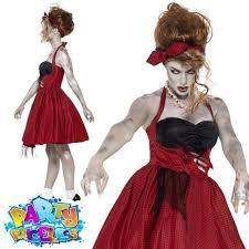Undead Halloween Costumes Zombie 50s Dancer Costume Halloween Womens Undead Fancy Dress Red