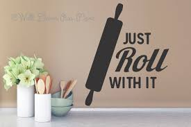 just tea for two wall decal stickers kitchen quote just roll with it with rolling pin kitchen quotes wall decals sticker