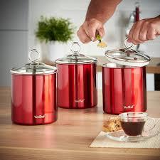 amazon com vonshef set of 3 tea coffee u0026 sugar canisters