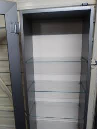 Ikea Glass Shelves by Ikea Bertby Silver Display Cabinet With 9 Glass Shelves In