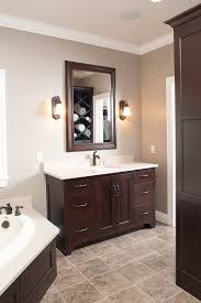 Bathroom Cabinet With Mirror And Light by Love The Dark Cabinets With The Light Marble And Tile Home