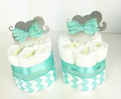 elephant diaper cakes set tiffany blue chevron baby shower