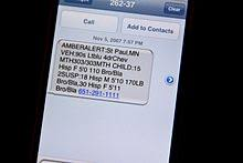 A text message on an iPhone announcing an AMBER Alert Wikipedia