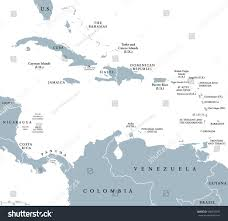 Labeled Map Of Central America by Caribbean Countries Political Map National Borders Stock Vector