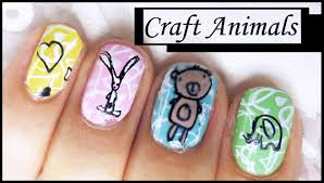 craft animal stamping nail art design tutorial for short nails