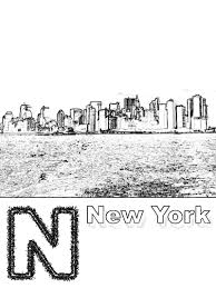 n is for new york coloring page