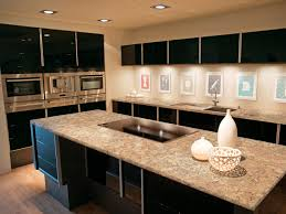 granite countertop unfinished kitchen cabinets with glass doors